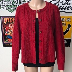 Pendleton Red Button Down Cardigan Sweater, sz M